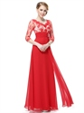 Red Prom Dresses Long Sleeves, Red Lace Prom Dresses With Sleeves