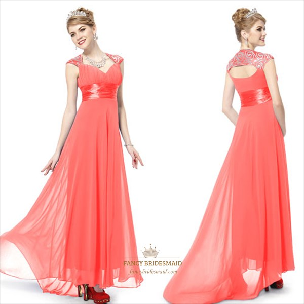 Coral Prom Dresses With Cap Sleeves,Coral Mother Of The Bride Dresses