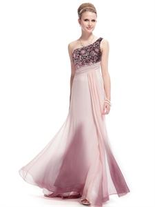 Light Pink One Shoulder Prom Dress With Embellished Shoulders,Long Salmon Prom Dresses