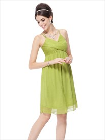 Lime Green Mini Dress,Lime Green Short Prom Dresses With Spaghetti Straps