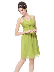 Lime Green Mini Dress,Lime Green Short Prom Dresses With Spaghetti Straps