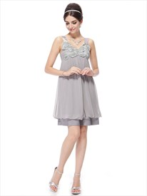 Silver Grey Cocktail Dresses With Straps,Short Grey Prom Dresses With Embellish Neckline