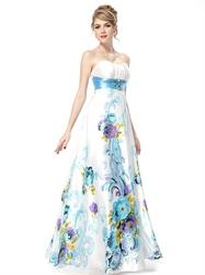White Strapless Floral Maxi Dress,White Dress With Green Floral,White Floral Dress Wedding Guest