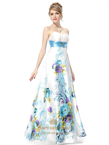 White strapless floral maxi dress white dress with green for Strapless dresses for wedding guests