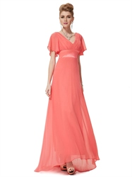 Coral Mother Of The Bride Dresses,Coral Colored Mother Of The Bride Dresses With Cap Sleeves