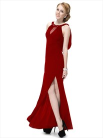 Long Dark Red Prom Dresses With Slits Up The Side,Long Maroon Prom Dresses