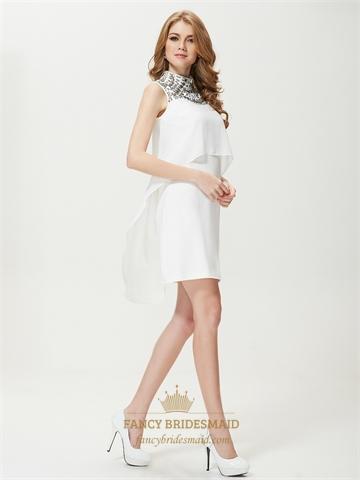 White High Neck Sleeveless Skater Dress,White Summer Dresses For Juniors