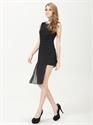 Black Asymmetrical Dresses,Black Cocktail Dresses With Sheer Overlay