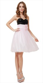 Light Pink Cocktail Dress With Black Sequin Top,Black And Pink Cocktail Dresses For Prom