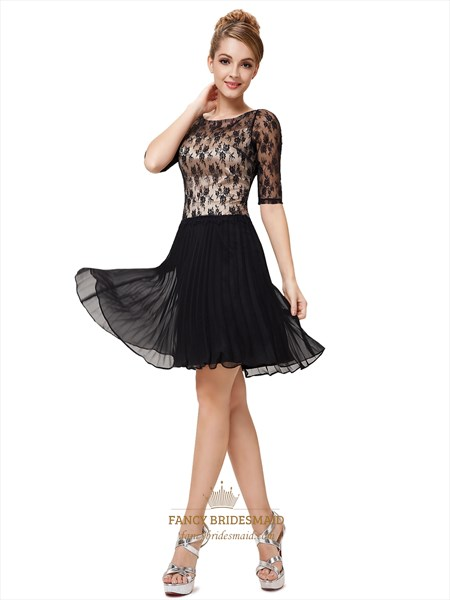 Black And White Cocktail Dresses With Sleeves For Juniors,Black Lace Sleeved Dress