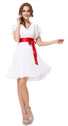 White Cap Sleeve Cocktail Dress With Red Ribbon,White Graduation Dresses With Sleeves