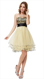Light Yellow Cocktail Dress,Short Yellow Homecoming Dresses With Lace Overlay