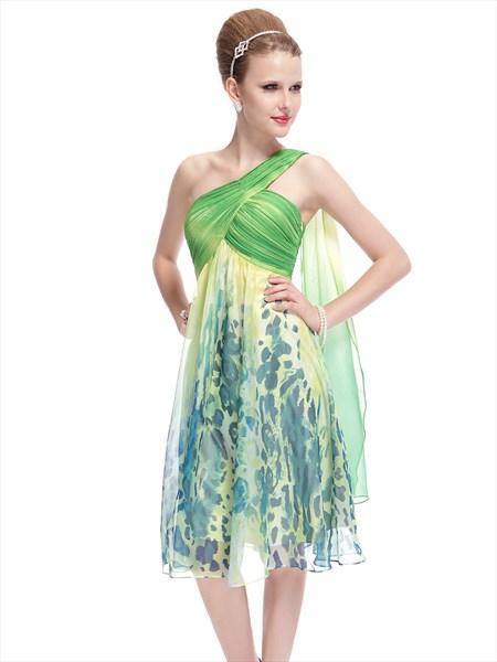 One Shoulder Short Floral Print Dress,Mint Green Floral Dress
