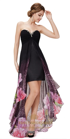 Black Sweetheart Neckline High Low Dress With Sheer