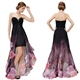 Black Sweetheart Neckline High Low Dress With Sheer Overlay,Black Prom Dresses With Back Out