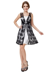 White And Black Lace Homecoming Dress,White Dress With Black Lace Overlay