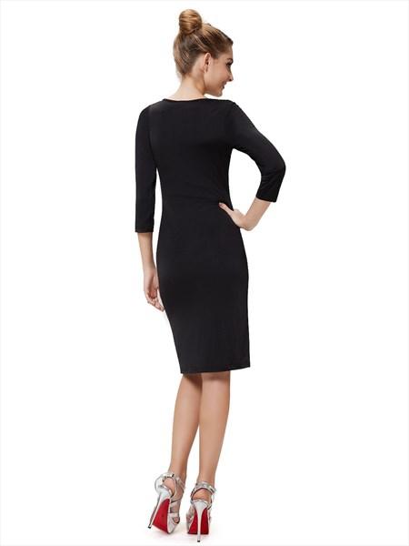 Black Mini Dress With Long Sleeves,Black Bodycon Dress Long Sleeve,Cute Black Club Dresses With Sleeves