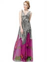 Long Floral Dresses For Evening,Grey And Purple Floral Dress,Floral V Neck Skater Dress