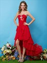 Red High Low Dresses For Teenagers,Red Prom Dresses 2021 High Low,Red High Low Sweet 16 Dresses