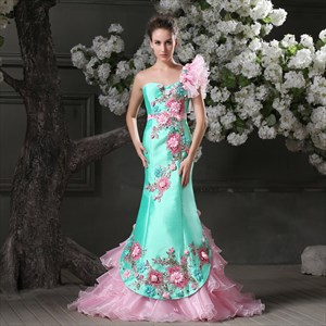 Aqua Blue One Shoulder Mermaid Brush Train Beautiful Evening Dress with Flower Embroidery