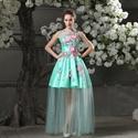 Elegant Aqua Blue Short Mini Bridesmaid Gowns Floral A-line Scoop Lace Satin Evening Dresses