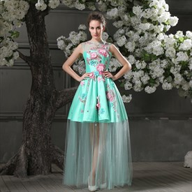 Elegant Aqua Blue Short Mini Bridesmaid Gowns Floral A-line Scoop Lace Satin Evening Dresses