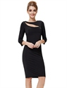 3/4 Sleeve Cutout Short Black Cocktail Party Dress