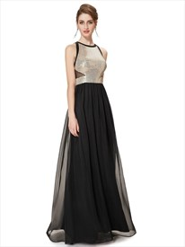 Black Sleeveless Round Neck Sexy Long Evening Party Dress