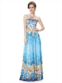 Blue Floral Print Bridesmaid Dresses,Strapless Padded Floral Print Sexy Prom dress