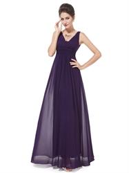 Dark Purple Chiffon Bridesmaid Dresses,Plum Chiffon V-Neck Knee Length Bridesmaid Dresses