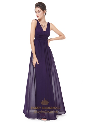 Dark Purple Chiffon Bridesmaid Dresses,Plum Chiffon V-Neck Knee Length Bridesmaid Dresses