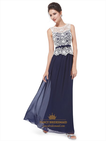 Blue Prom Dress With White Lace Top,Women'S Sleeveless Illusion Long White Casual Party Dress