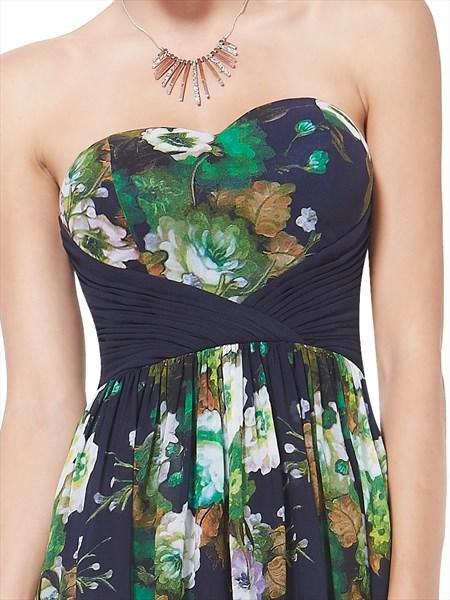 Green Floral Print Peplum Midi Dress,Women'S Strpaless Floral Printed Ruffles Long Party Dress