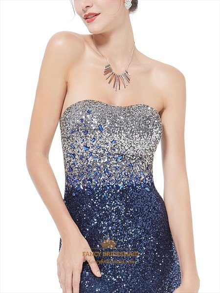 Sparkly Sequin Long Prom Dresses 2019,Glitter Women'S Strapless Fit And Flare Sequins Long Party Dress