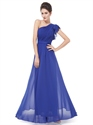 One Shoulder Royal Blue Chiffon Dress,Women'S Single Butterfly Sleeve Long Party Dress