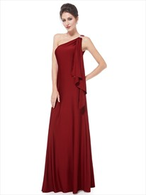 Burgundy One Shoulder Bridesmaid Dress,Gorgeous One Shoulder Diamantes Long Evening Dress