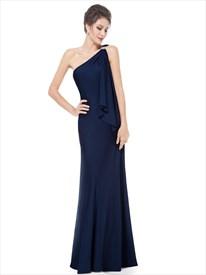 Navy Blue One Shoulder Bridesmaid Dress,Gorgeous Navy Blue One Shoulder Diamantes Long Evening Dress