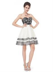 White Cocktail Dress With Black Lace Overlay,Strapless Women'S Short White Cocktail Dress