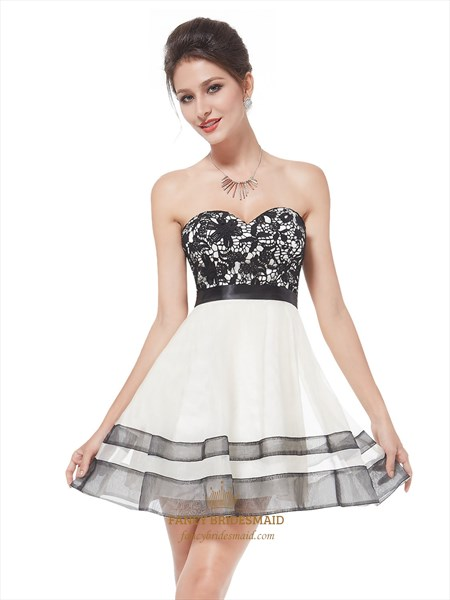 White Cocktail Dress With Black Lace Overlay Strapless