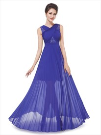 Royal Blue Pleated Maxi Dress,Women'S Elegant Sheer Lace Long Party Dress