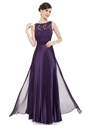 Eggplant Purple Chiffon Sleeveless Lace Bodice Bridesmaid Dress With Belt