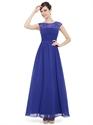 Sapphire Blue Illusion Sheer Lace Bodice Chiffon Skirt Bridesmaid Dress
