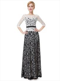 Elegant White And Black Three Quarter Sleeve Lace Sheath Prom Dress