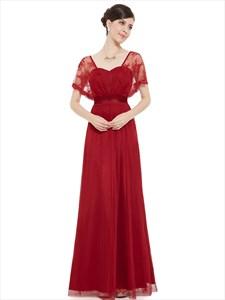 Burgundy Chiffon Flutter Sheer Sleeve Lace Sweetheart Bridesmaid Dresses