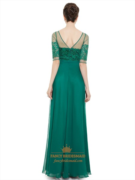 Emerald Green Chiffon Sheer Lace Top Evening Prom Dress With Half Sleeves