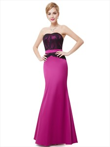 Fuchsia Mermaid Sleeveless Lace Bodice Strapless Bridesmaid Dress With Belt