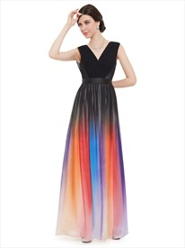 V Neck Sleeveless Black Ombre Chiffon Pleated Column Bridesmaid Dress