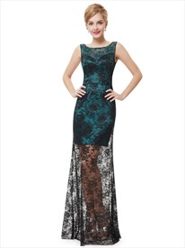 Dark Green And Black Lace Overlay Sleeveless Prom Dress With Sheer Overlay