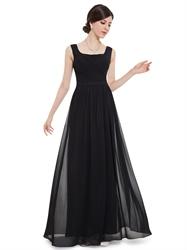 Black Chiffon Square Neck Floor Length Bridesmaid Dress With Pleated Bodice