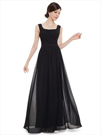 Black Chiffon Square Neck Floor Length Bridesmaid Dress With Pleated Bodice